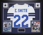 Emmitt Smith Autographed & Framed White Cowboys Jersey Auto PSA COA