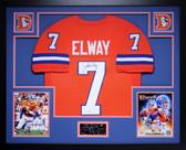 John Elway Autographed & Framed Orange Crush Broncos Jersey Auto JSA COA