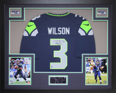 Russell Wilson Autographed & Framed Blue Seahawks Jersey Auto Wilson COA