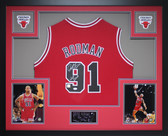 Dennis Rodman Autographed HOF 2011 & Framed Red Bulls Jersey Auto JSA COA