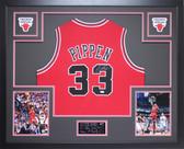 Scottie Pippen Autographed & Framed Red Bulls Jersey Auto PSA COA