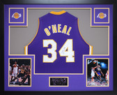 Shaquille O'Neal Autographed & Framed Purple Lakers Jersey Auto JSA Certified