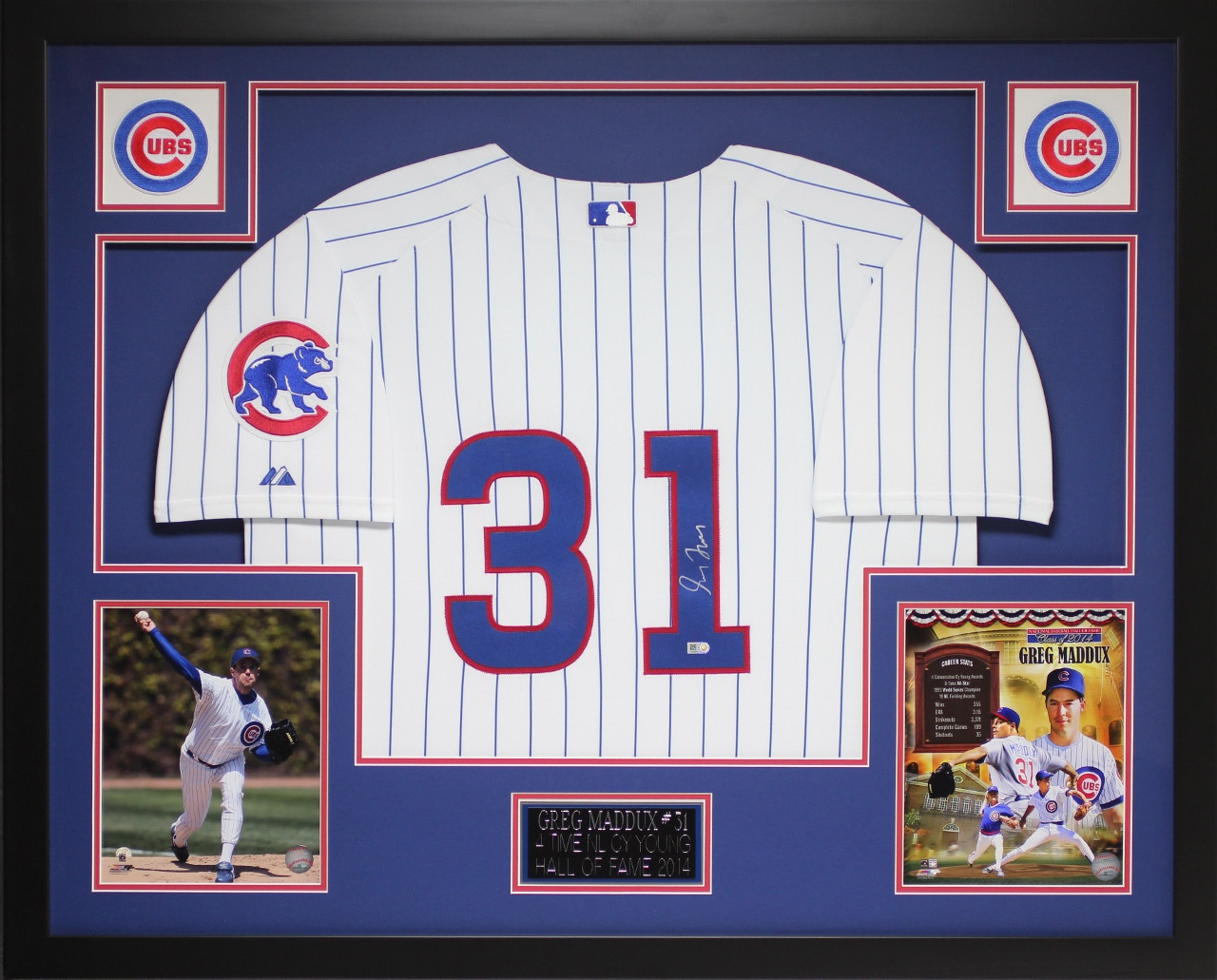 Greg Maddux Autographed and Framed White Cubs Jersey