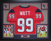 JJ Watt Framed and Autographed Red Texans Jersey Auto JSA Certified