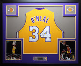 Shaquille O'Neal Autographed & Framed Gold Lakers Jersey Auto JSA Certified