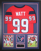 JJ Watt Autographed and Framed Red Texans Jersey Auto JSA Certified (Vert)
