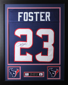 "Arian Foster Framed and Autographed Navy Texans Jersey Auto JSA COA (24""x30"")"