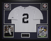 Derek Jeter Autographed and Framed White Pinstriped Jersey Steiner COA