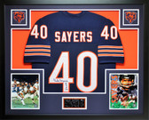 Gale Sayers Autographed HOF 77 and Framed Navy Bears Jersey JSA COA