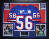 Lawrence Taylor Autographed and Framed Blue Giants Jersey Auto JSA COA