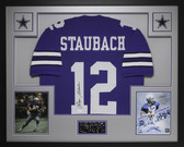Roger Staubach Autographed and Framed Blue Jersey JSA COA