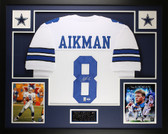 Troy Aikman Autographed and Framed White Cowboys Jersey PSA COA