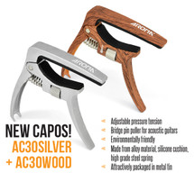 Aroma AC-30 Acoustic/Electric Guitar Capo in case - wood look or silver