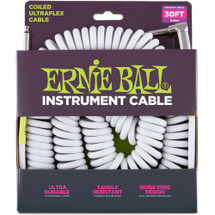 Ernie Ball 30ft Coiled Instrument Cable - Black or White