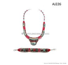 nepal tribal handmade necklaces bracelets with stones