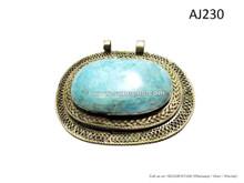 afghan kuchi pendants with turquoise stones