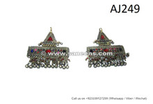 handmade tribal artwork jewelry online, kuchi banjara hair clips