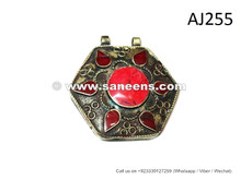 afghan kuchi pendants with coral stones