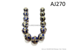 afghan handmade metal german silver beads with lapis inlay
