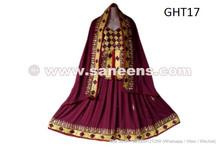 Burgundy color afghan dress