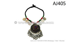 afghan kuchi necklaces with coins dome pendants