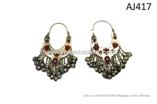afghan kuchi long earrings