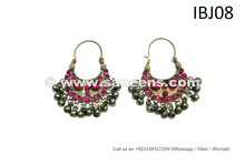 Cairo Belly Dancer Earrings ATS Jewelry Asian Fusion Earrings Pink Stones