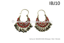 ATS Bellydance Earrings Kuchi Women Jewelry Tribal Banjara Earrings Red Stones