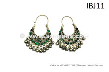 Best Selling Tribal Earrings Ethnic Jewelry For Bellydancers With Green Stones