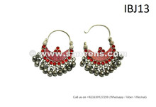 ATS Belly Dance Earrings Didem Earrings Kuchi Banjara Jewelry in Red Stones