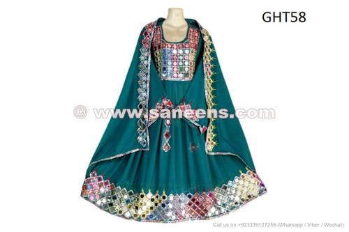 Afghan Wedding Mirrors Dress Pashtun Ladies Green Suit Formal ...