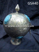 afghan antique round box