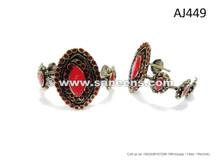 Dark Fusion Bellydance Bangles Kuchi Tribal Art Bracelets With Coral Gemstone