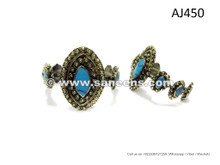 Afghan Kuchi Bangles With Turquoise Gems Bellydance Tribal Ethnic Bracelet