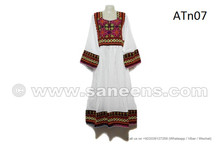 Traditional Afghan Wedding Event Clothes Pashtun Women White Dress
