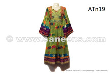 Afghan Nomad Costume Gypsy Women Long Gown Kuchi Fashion Green Dress