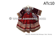 Afghan Nomad Vintage Clothes Kuchi Ethnic Clothing Tribal Coins Dress In Red Color
