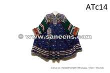 Gypsy Wedding Event Flower Clothes Tribal Art Coins Frock In Blue Color