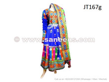 Afghan Bridal Dress In Blue Color Floor Length Tribal Gown Muslim Nikah Event Long Apparel