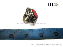 afghan jewelry ring with coral stone