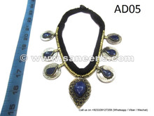 afghan kuchi necklace with blue lapis stones