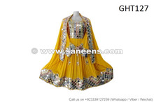 afghan fashion dress in yellow color