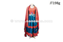 afghan fashion dress gown in teal color