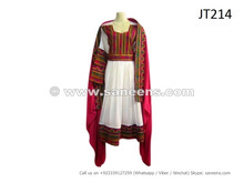 afghan dress in white and pink color