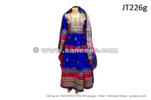 afghan dress gown in blue color