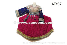 afghan kuchi coins frock in pink color