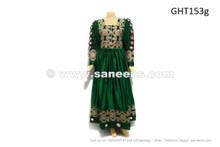 afghan kuchi muslim persian bridal green color gown with embroidered lace