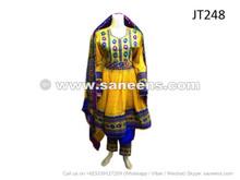 afghan muslim women long dress in yellow color