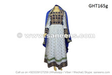 afghan fashion gown in white color