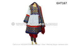 afghan tribal fashion white dress with burgundy pant veil